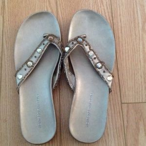 Monterey Bay Club gold + gem sandals